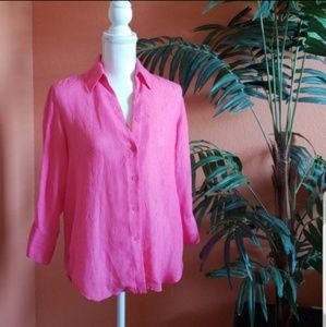 Coldwater Creek Crepe Oversized Button Down, Pink
